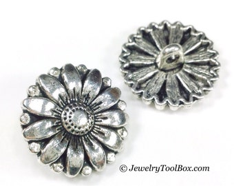 Buttons, Metal, Shank 2mm, Layered Sunflower Design, Pewter with Antique Silver Finish, 17mm Round, Lot Size 5 to 30, #1002