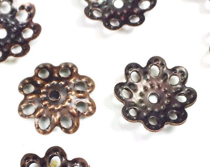 Filigree Bead Caps, Iron, Choose Gold, Antique Silver, Copper, Bronze or Hematite, 10x2mm, 1mm Hole, Lot Size 100 to 250, #2053