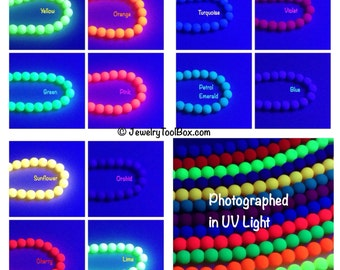 Matte Neon Glass Beads, 4mm Round, UV Active Glow, Matte Finish, Czech, Choose from 12 Colors, 40 Beads per Strand, #2004