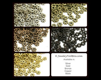 Metal Daisy Spacer Beads, 4mm, 1mm hole, Antique Silver, Bronze, Copper, Gold, Black, Nickel and Lead Free, Lot Size 100 to 500, #2012