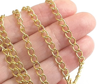Gold Stainless Steel Twist Chain, Extender Chain, Bulk Jewelry Making Findings, Open Link, 3.5x5.5x0.75mm, Lot Size 2 to 60 feet, #1950 G