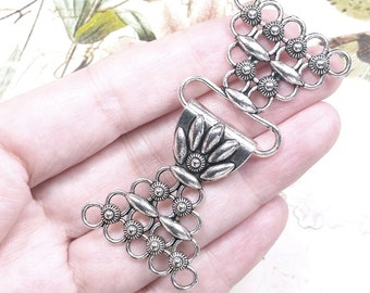 Large Toggle Clasp, Multi Strand Finding, 5 Strand Necklace Connector, Antique Silver Pewter, 68x31mm, Lot Size 1 to 10, #1214