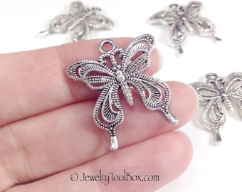 Butterfly Charms, Pendants, Pewter, 27x24mm, Antique Silver Finish, Lot Size 4 to 20, #1032 BY
