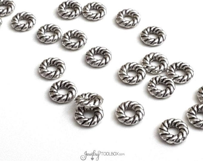 8mm Twisted Round Loops, Closed Ring Jewelry Connector, 8x2mm Round Links, 3mm Hole Bead, Antique Silver Pewter, Lot Size 50, #1352