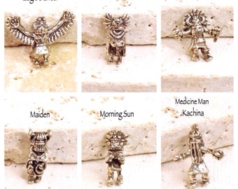 Kachina Bead Collection, Sterling Silver, Vintage, Rare, Tiny, Individually OR Complete Set of 6