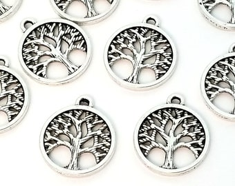 Tree Pendant Charm, Antique Silver Pewter, 15mm Round, 2mm Loop, 1.7mm thick, Lot Size 10 to 50, #1282-1