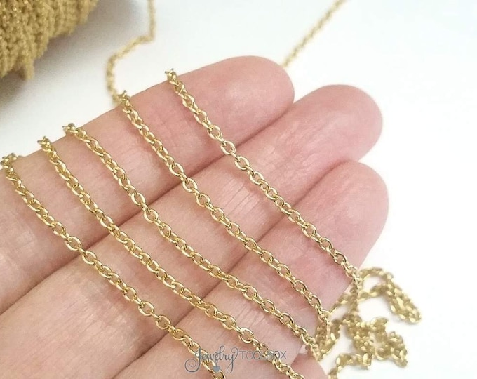 Gold Stainless Steel Chain, Fine Stainless Chain, Delicate Chain, Non Tarnish Chain, 2x2x0.5mm, Soldered Closed Links, 2 to 20 feet, #1913 G