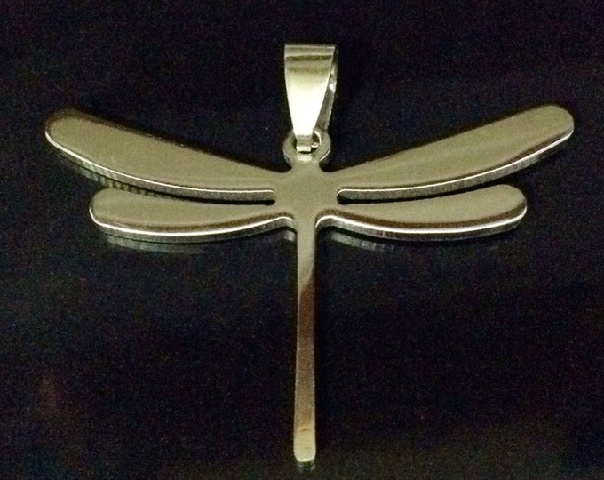 Dragonfly Pendant, Stainless Steel Jewelry Charm, Large Pendant, Large Stainless Dragonfly Jewelry, 45mm Wing Span, Lot Size 4, #1814