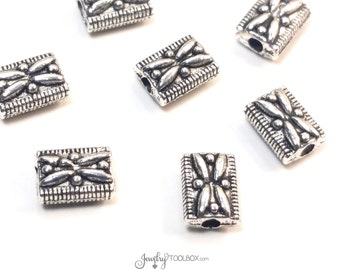 Rectangle Spacer Beads, Antique Silver Pewter, Metal Bead Findings, Decorative Beads, Double Sided, 7x5mm, 1mm Hole, Lots of 12 to 50, #1331