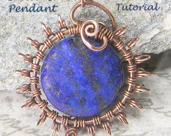 Sunburst Pendant 1 TUTORIAL - Wire Jewelry Pendant eBook  Instructions, PDF file only