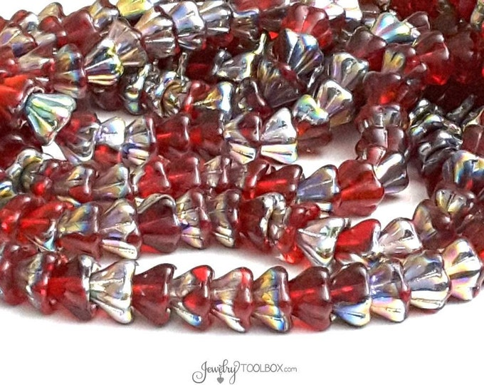 Siam Ruby Bell Flower Beads, 8x6mm, Czech Glass Beads, Flower Bead Cap, Red Beads, Lot Size 25 Beads, #220