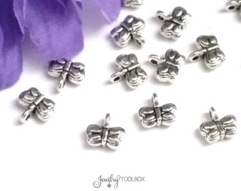 Silver Butterfly Drops, Tiny Butterfly Pendants Antique Silver Pewter Butterfly Charms, Double Sided, 7x8x3mm, Lot Size 10 to 50, #1084 BY