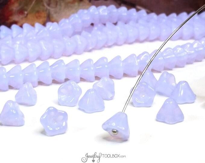 Violet Opal Bell Flower Beads, Czech Glass Beads,  8x6mm Bellflower Beads, Flower Bead Cap, Lot Size 25 Beads, #222