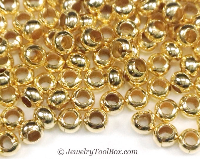 11/0 Seed Beads, Metal, Size 11, GOLD GILDING Plated, 1.5x2.5mm, Brass Spacers, Made in the USA, Lead Free, Lot Size 15 grams, #1455