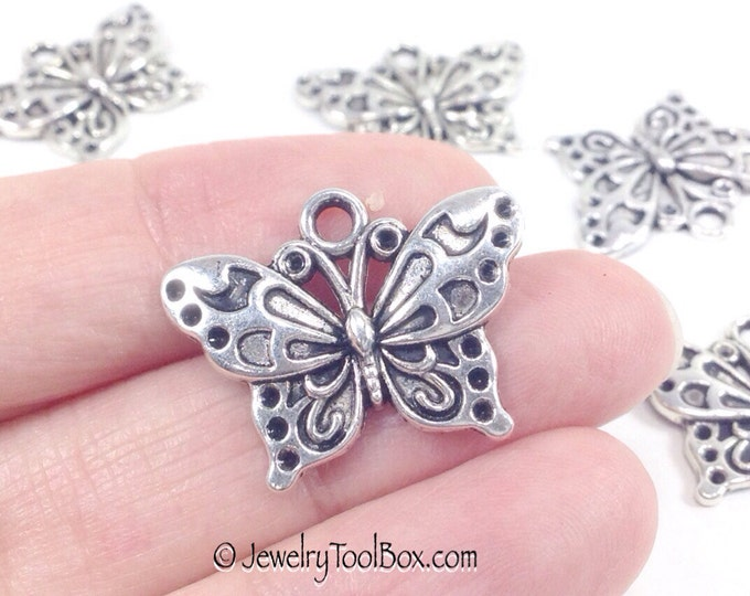 Butterfly Charms, Antique Silver Butterfly Pendants, Pewter, 19x24mm, Lot Size 20 to 50, #1033 BY