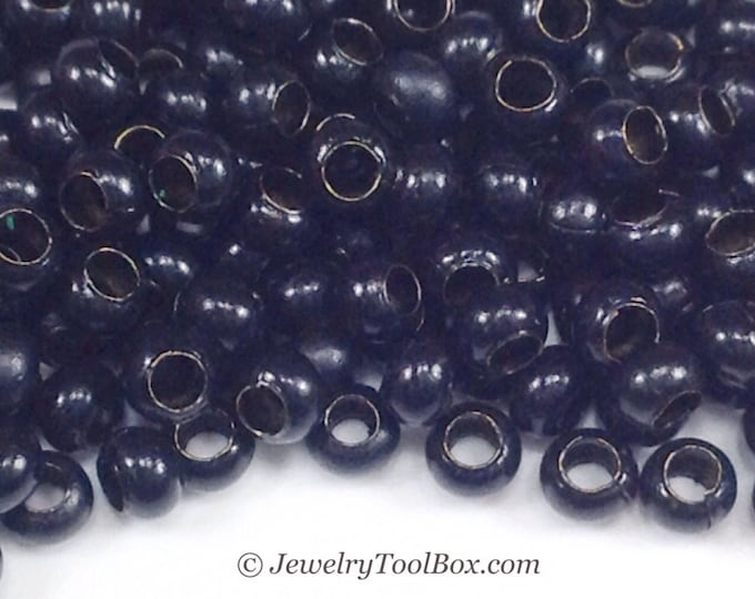 Metal Seed Beads, 11/0, Size 11, BLACK Plated, 1.5x2.5mm, Brass Spacers, Made in the USA, Lead Free, Nickel Free, Lot Size 13 grams, #1444