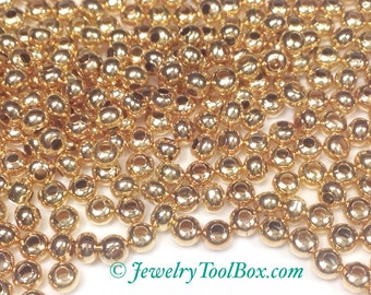 8/0 Seed Beads, Metal, Size 8, 24KT GOLD Plated, 2x3mm, Brass Spacer Beads, Made in the USA, Lead Free, Lot Size  40 grams, #1421
