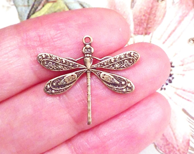 Dragonfly Charms, Pendant, 21x24mm, 1 Loop, Antique Brass, Large, Made in the USA, Lead Free, Nickel Free, Lot Size 6 to 20, #04B