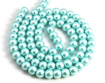 Light Cyan Pearls, Glass Bead Strands for Jewelry Making, Craft Beads, Jewely Supplies, 36 inch Strand, 4mm, 6mm, 8mm, 10mm, Hole 1mm