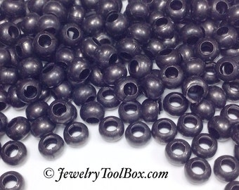Gun Metal 6/0 Seed Beads, Size 6, Plated, 3x4mm, Brass Spacer Beads, Made in the USA, Lead Free, Lot Size 27 grams, #1405