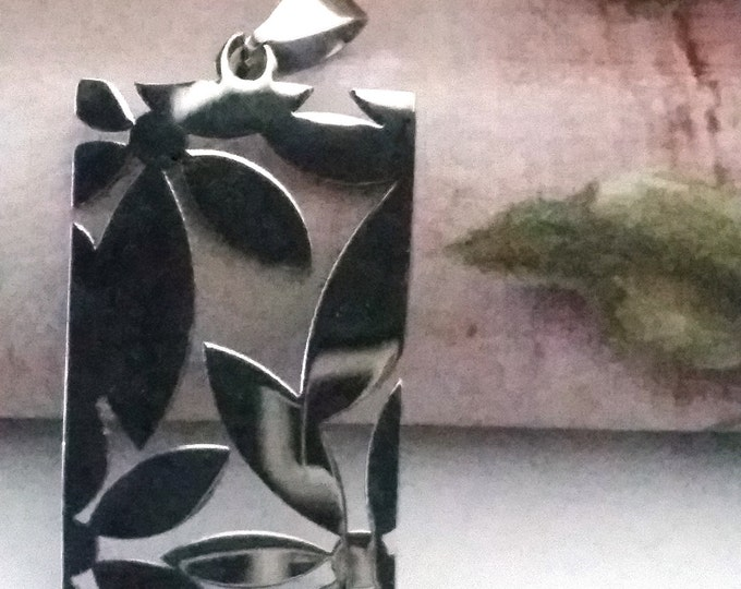 Tropical Pendant, Stainless Steel, Cut Out Leaf Design, Shiny Silver Tone Stainless, 36.5x20.5x1.5mm, Bail 4x9mm, Lot Size 1 to 5, #1813