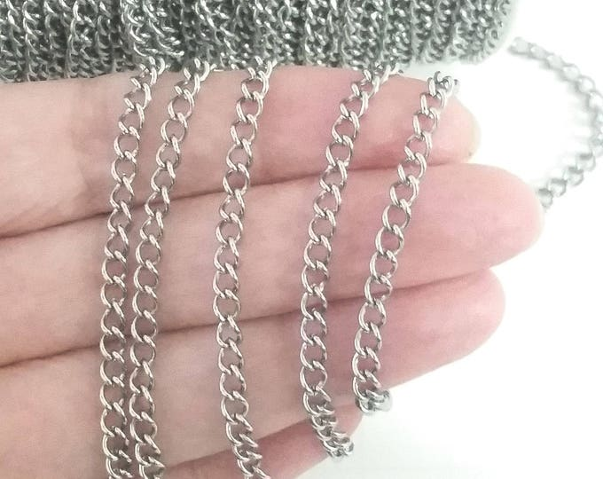 Stainless Twist Chain, Bulk Jewelry Making Charm Bracelet Chain, Open Link, 3.5x4.5x0.75mm, Lot Size 4 to 20 feet, #1950-1