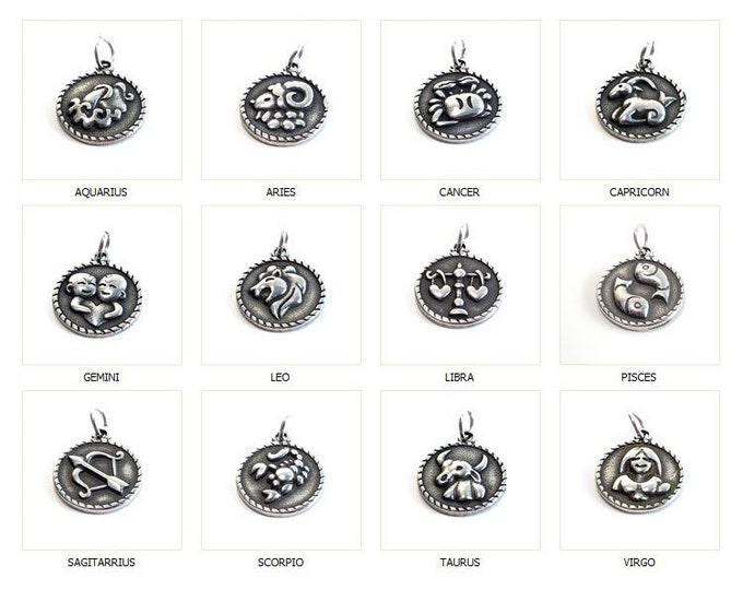 Zodiac Pendant, Strainless Steel Astrological Sign, Choose Your Sign, 3/4 inch diameter, Lot Size 1 Pendant