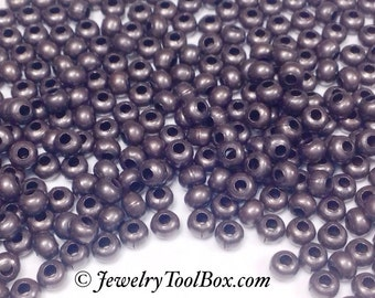 8/0 Seed Beads, Metal, Size 8, DARK COPPER Plated, 2x3mm, Brass Spacers, Made in the USA, Lead Free, Lot Size 36 grams, #1433