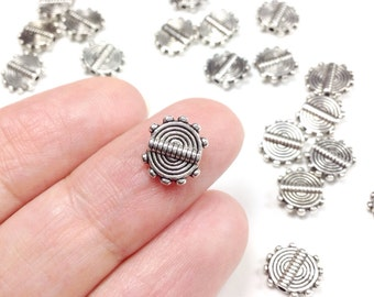 Pewter Coil Beads, 12x8mm, Flat Round, Antique Silver Finish, 1.5mm Hole, Lead Free, Lot Size 25 to 50 (#1142)