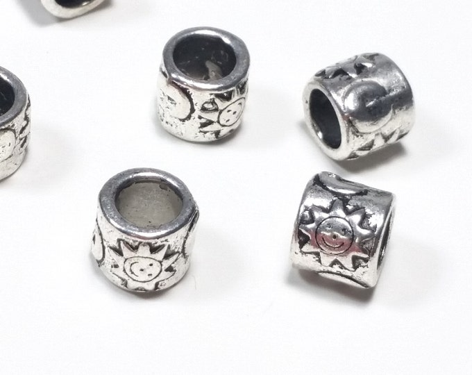 Extra Large Hole Barrell Beads, Metal Sun Bead, Antique Silver Pewter, 8x9mm, 6mm Hole, Lead Free, Lot Size 10 to 40, #1360 BH