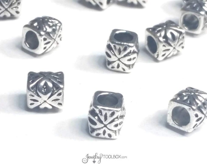 Carved Barrel Beads, 50 Pieces Antique Silver Pewter Extra Large Hole Beads, Metal Beads, 6x6mm, 3mm Hole, #1353 BH