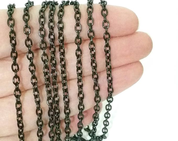 Black Stainless Steel Jewelry Chain, 3x4mm Oval Open Links, Hypoallergenic, Non Tarnish, Lot Size 4 to 20 Feet, #1906 BL