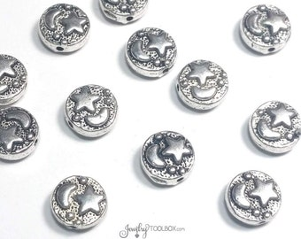 Celestial Beads, Metal Decorative Beads, Moon Bead, Star Bead, Antique Silver Pewter, Double Sided, 9mm, 1mm Hole, Lot Size 8 to 40, #1287
