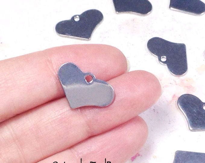 Heart Charms, Stainless Steel Stamping Blanks, Silver Tone, 20x12x1mm Hypoallergenic, Non Tarnish, Lot Size 2 to 15, #1620
