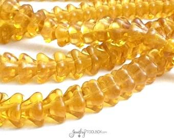 Amber Bell Flower Beads, Czech Glass Beads, Large Bell Flower Bead Cap, 11x13mm Bell Flower Beads,  Lot Size 10, #317