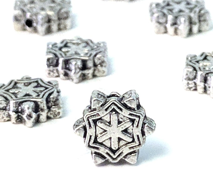 Decorative Spacer Beads, Metal Beads, Antique Silver Pewter, Double Sided, 7x3mm, Less than 1mm Hole, Lot Size 18 to 40, #1377