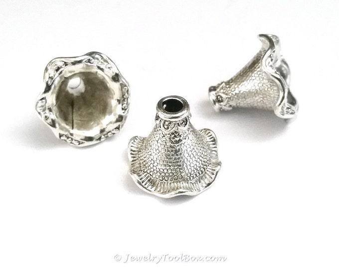 Large Bead Caps, Necklace Bracelet Cones, Antique Silver, 22x21x17mm, 3.5mm Hole, Lot Size 4 to 10, #1512 S