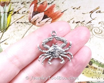 Crab Pendant Charms, Pewter,  Antique Silver, Lead Free, 23x24mm, Lot Size 4 to 20, #1243