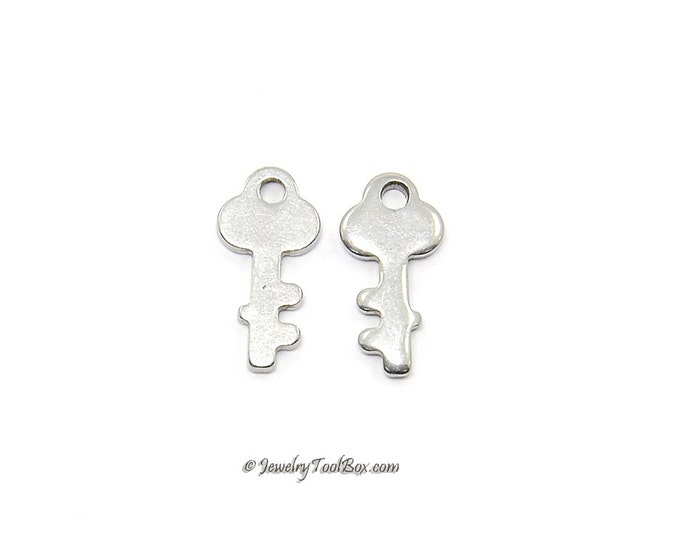 Stainless Steel Key Charms, Tiny, 12x6x1mm, Hypoallergenic, Non Tarnish, Lot Size 6 to 50, #1655