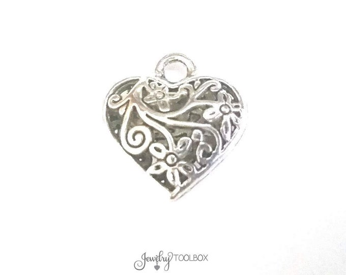 Filigree Heart Pendant, Large Antique Silver Pewter Heart Valentine Charm, 20x20mm, Lot Size 2 to 12, #1180