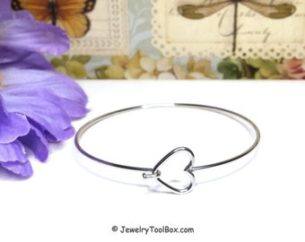 Stainless Steel Bangle, Heart Bracelet, Charm Bracelet Jewelry Making Supplies, 60mm diameter (less than about 2-1/2 inches)