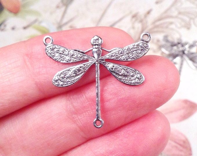 Dragonfly Necklace Connector Pendant, 22x25mm, 3 Loops, Antique Sterling Silver, Large, Made in the USA, Nickel Free, Lot Size 6 to 20, #06S