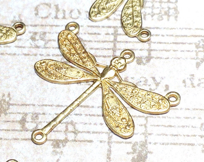 Dragonfly Necklace Connector Pendant, 22x25mm, 3 Loops, Raw Brass, Large, Made in the USA, Lead Free, Nickel Free, Lot Size 6 to 20, #06R