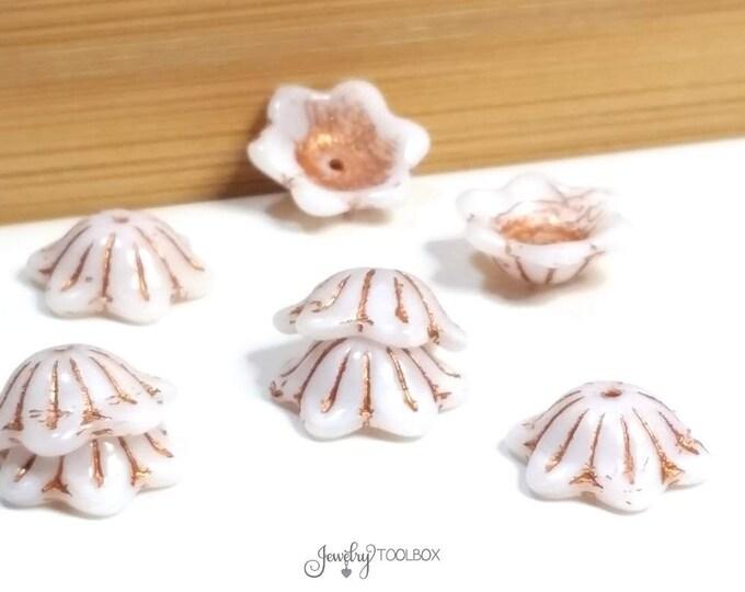 White Silk Glass Flower Bead Cap, Czech Glass Bead, Wide Bell Flower Bead, 14x11mm, Lot Size 10, #6468