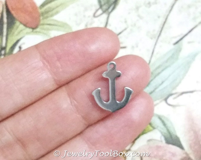 Stainless Steel Anchor Charms, Small, 16x3x1mm, Hypoallergenic, Non Tarnish, Lot Size 4 to 50, #1658