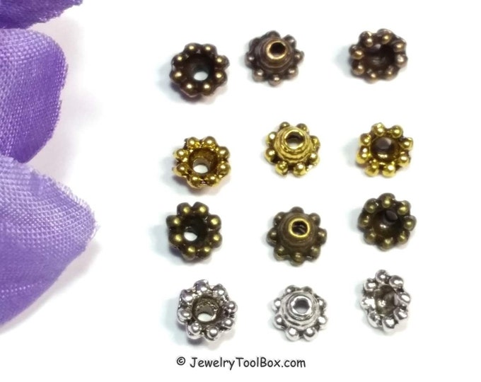 Flower Bead Caps, Nickel Free Jewelry Findings, Antique Silver, Copper, Gold or Bronze, 3x6mm, Fits 4mm & Up, Lot Size 50 to 100, #2017