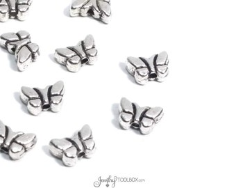 Metal Butterfly Beads, Antique Silver Pewter Butterflies, Bulk Beads, Insect Beads, 5mm, 1mm Hole, Lead Free, Lot Size 25 to 50, #1075