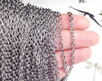 Stainless Steel Jewelry Chain, Hypoallergenic, 316L Stainless, 3x4mm Oval, Soldered Closed Links, Choose 2 to 300 feet #1006