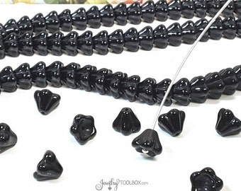 Jet Black Bell Flower Beads, Czech Glass Beads, Flower Bead Cap, 8x6mm Bellflower Beads, Lot Size 50 Beads, #200