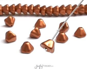 Copper Bell Flower Beads, 8x6mm, Matte Copper Czech Glass Beads, Flower Bead Cap, Bellflower Beads, Lot Size 25 Beads, #203